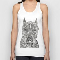 pitbull Tank Tops featuring  American Pitbull Terrier by DiAnne Ferrer
