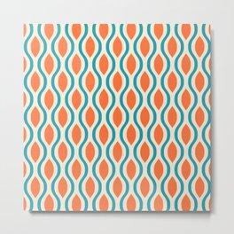 Retro Ogee Pattern 442 Orange Beige and Turquoise Metal Print