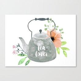 Watercolor Flower Teapot Canvas Print