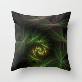Green spiral flowers fractal picture on the dark background Throw Pillow