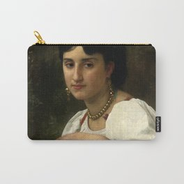 """William-Adolphe Bouguereau """"Italienne au Tambourin (Italian woman with tambourine)"""" Carry-All Pouch"""