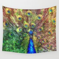 peacock Wall Tapestries featuring peacock by Ancello