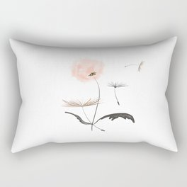 Sweet dandelions in pink - Flower watercolor illustration with glitter Rectangular Pillow