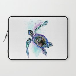 Sea Turtle Underwater Scene Artwork, turquoise blue, gray design beach Laptop Sleeve