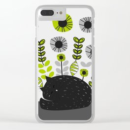 Sleepy cat and floral bouquet Clear iPhone Case