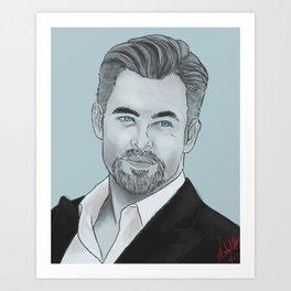 Chris Pine in Blue Art Print