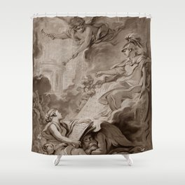 """Follower of François Boucher """"An allegorical subject, possibly the Triumph of Minerva"""" Shower Curtain"""