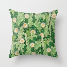 Cacti Camouflage, Succulent Bloom Floral Pattern Paper Collage Green White Throw Pillow