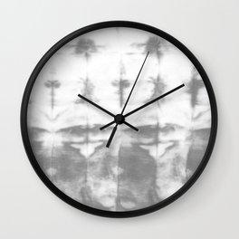 Gray Shibori Stripes Wall Clock