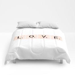 LOVE Scrabble Tiles Horizontal Comforters