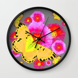 YELLOW BUTTERFLIES PINK MODERN FLOWERS Wall Clock