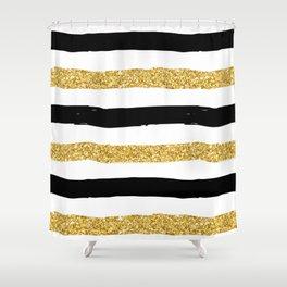 Black and Gold Glitter Brushstroke Stripes Shower Curtain