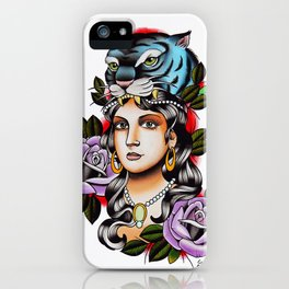PaperTigress girl with tiger head - tattoo iPhone Case