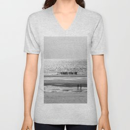 Beach black white 5 Unisex V-Neck