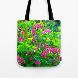 GREEN SPRING GARDEN PINK BLEEDING HEARTS Tote Bag