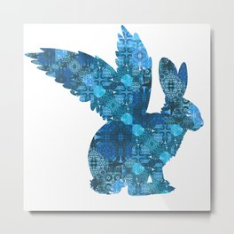 Blue Aqua Turquoise Flying Rabbit Print Metal Print