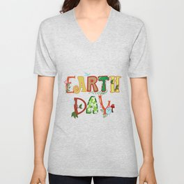 Cute Earth Day Leaves Vines Plants Letters graphic Unisex V-Neck