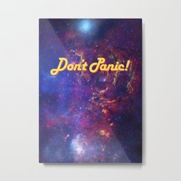 Don't Panic! in Friendly Yellow Metal Print