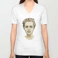 kate moss V-neck T-shirts featuring Kate Moss by Matthäus Rojek