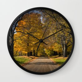 Rural country gravel road in Autumn Wall Clock