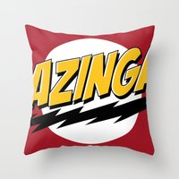 bazinga Throw Pillows featuring Bazinga by Maxx Hendriks