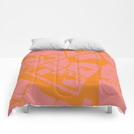 Vilnius map pink orange Comforters