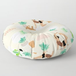 Mid Century Modern Yoga pattern with cats and plants Floor Pillow