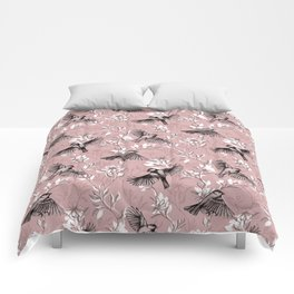Flowers and Flight in Monochrome Rose Pink Comforters
