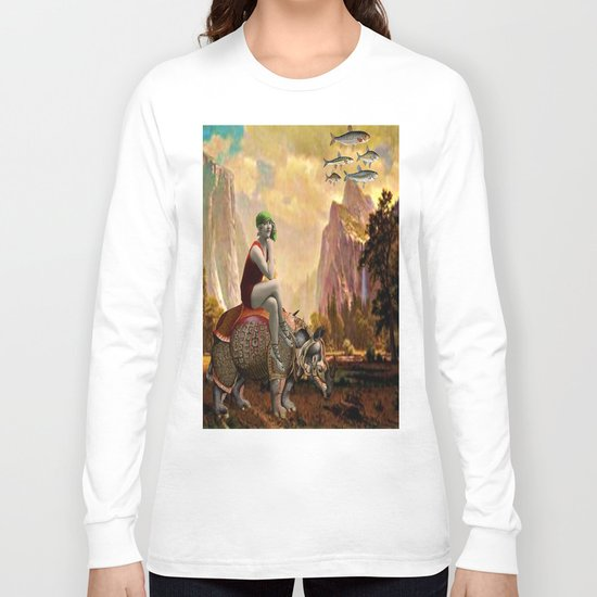 Lady and her Rhino Long Sleeve T-shirt
