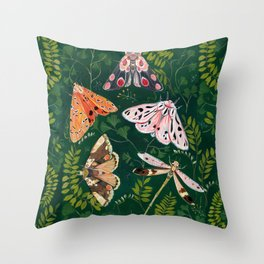 Moths and dragonfly Throw Pillow