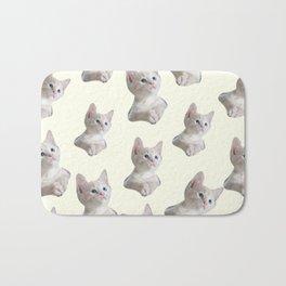 cute girly chic beige white cat pattern Bath Mat