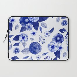 blue and white watercolor floral Laptop Sleeve