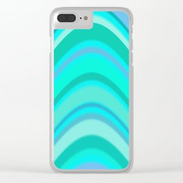 Turquoise Curves Clear iPhone Case
