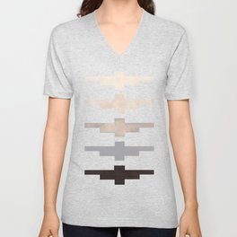 Mid Century Minimalist Ancient Aztec Inca Geometric Pattern Watercolor Grey Colorful Gouache Paintin Unisex V-Neck