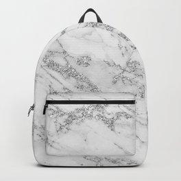 Elegant chic white gray silver glitter marble Backpack
