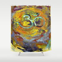 om Shower Curtains featuring OM by Seema