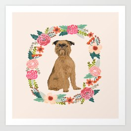 brussels griffon dog floral wreath dog gifts pet portraits Art Print