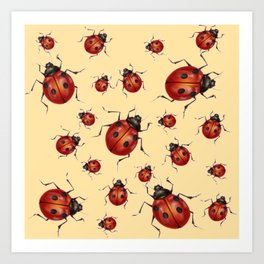 ABSTRACT RED LADY BUGS ON CREAM COLOR DESIGN ART Art Print