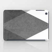 gray iPad Cases featuring black and white triangles by her art