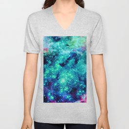 Colorful Teal Galaxy Sparkle Stars Unisex V-Neck