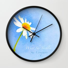 Watercolor Daisy - What She Tackles She Conquers Wall Clock