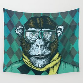 Hipster Chimp Portrait Wall Tapestry