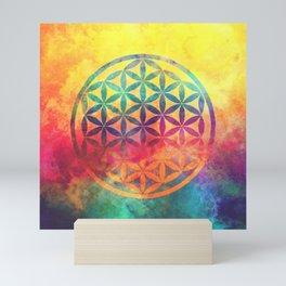 Rainbow Flower Of Life Mini Art Print