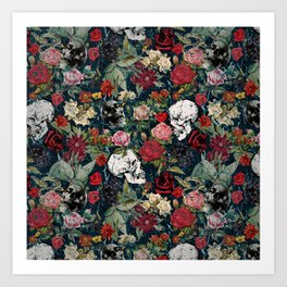 Distressed Floral with Skulls Pattern Art Print