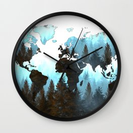 world map forest Wall Clock
