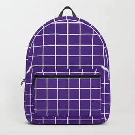 KSU purple - violet color - White Lines Grid Pattern Backpack