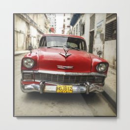 Vintage Red American Car on the Streets of Havana. Metal Print