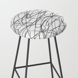Hand Drawn Scribbles (black/white) Bar Stool