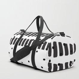 Modern black white  watercolor brushstrokes polka dots Duffle Bag