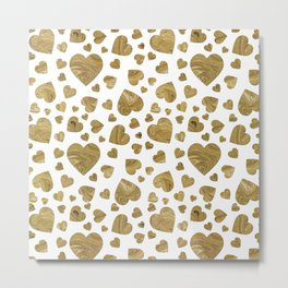 Abstract gold marble romantic valentines hearts Metal Print